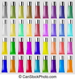 Illustration set of plastic tubes of different colors for cosmetic cream
