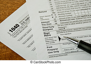 pen on income tax form - ball point pen on 1040 income tax...