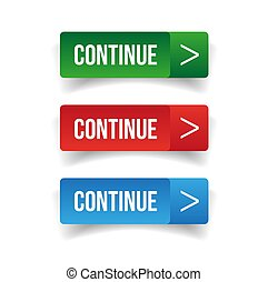 Continue button set vector isolated