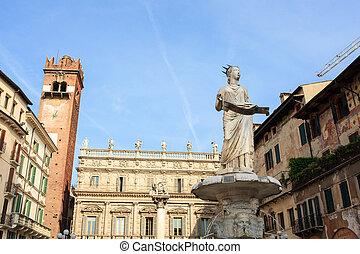 Piazza delle Erbe, the Market's square in Verona - VERONA,...