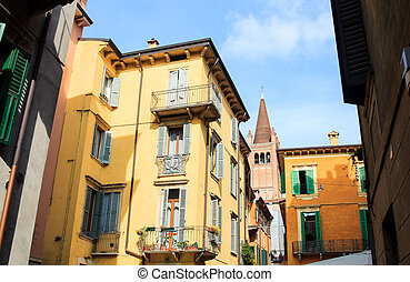 View of belltower in Verona - View of belltower next to the...