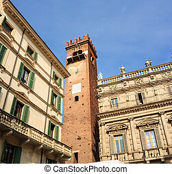 Belltower in Piazza delle Erbe, Verona - View of the...