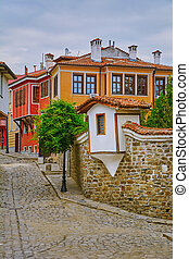 Street of Old Plovdiv - Street of an Old Town of Plovdiv,...