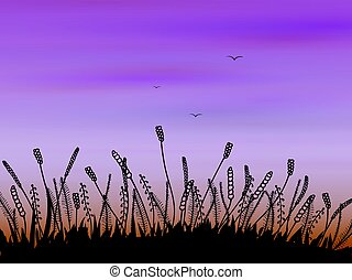 Doodle grass at sunset - Doodle stylized evening or sunrise...
