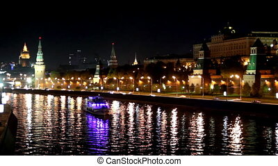 Moscow Kremlin river night landscape with ships - timelapse