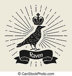 Background with black raven. Hand drawn inky bird and crown.