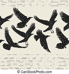 Seamless pattern with black flying ravens. Hand drawn inky...