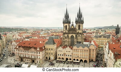 Old Town Hall of Prague in the daytime in spring, shot as a...