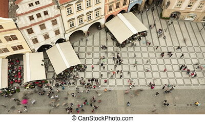 Famous Staromeske square, with old historic buildings  as an aerial  time lapse