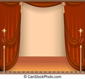 illustration of background with theatre stage with red curtains