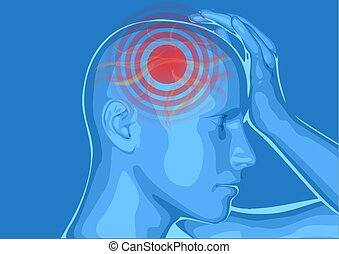 headache. medically vector illustration of headache/...