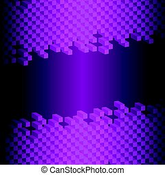 3d abstract square isolated on black- purple background
