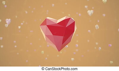 Low poly heart shape floating in air. Loopable 3d rendering.