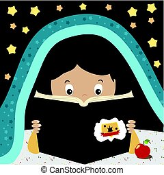 Child Reading Book. Kid reading at night under the blunket. Cartoon character boy or girl. Bookworming