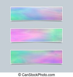 Set of Delicate Banners with Holographic Effect for Business.