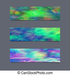 Set of Cards or Banners with Realistic Holographic Effect....