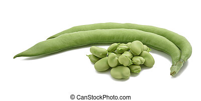 fava bean (Vicia faba) - broad beans or fava beans isolated...