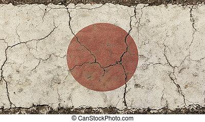 Old grunge vintage faded Japan Nippon flag - Old grunge...