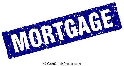 square grunge blue mortgage stamp