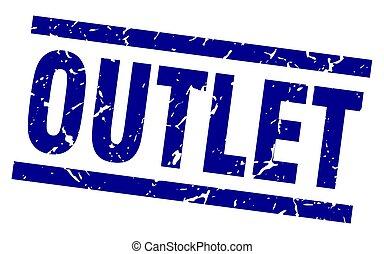 square grunge blue outlet stamp