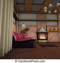 Fireplace room - 3d rendering illustration, Fireplace room