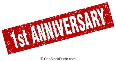 square grunge red 1st anniversary stamp