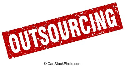 square grunge red outsourcing stamp