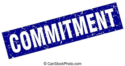 square grunge blue commitment stamp