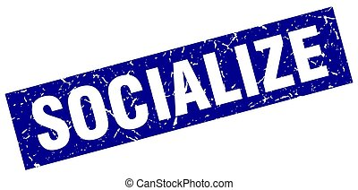 square grunge blue socialize stamp