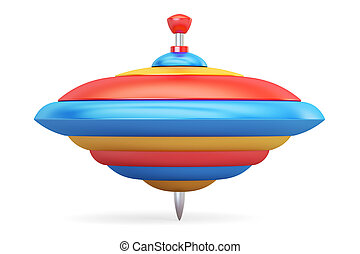 Whirligig top closeup, 3d rendering isolated on white...