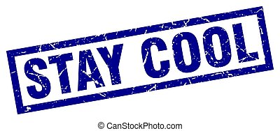square grunge blue stay cool stamp