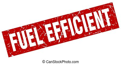 square grunge red fuel efficient stamp