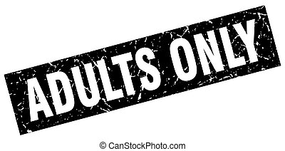 square grunge black adults only stamp