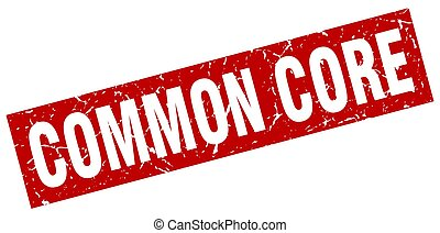 square grunge red common core stamp