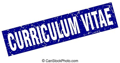 square grunge blue curriculum vitae stamp