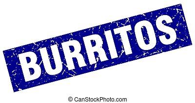square grunge blue burritos stamp