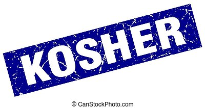 square grunge blue kosher stamp
