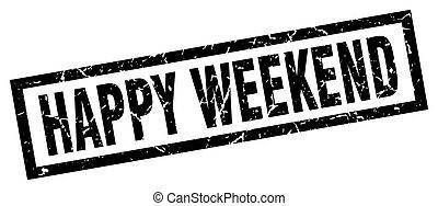 square grunge black happy weekend stamp