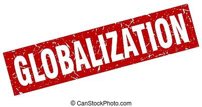 square grunge red globalization stamp