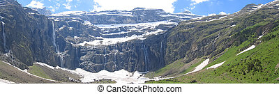 Large panoramic view of the Gavarnie Circus mountains with...
