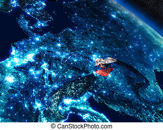 Slovakia with embedded flag from space - Slovakia with...