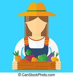 farmer woman with vegetables