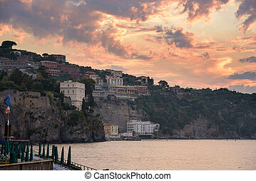 Cliff coast in Sorrento town at sunset - View of cliff coast...