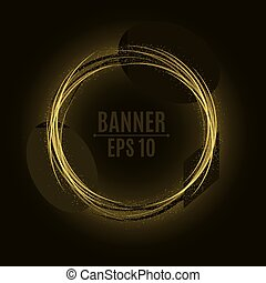 Abstract golden banner of swirling bands and particles. A...