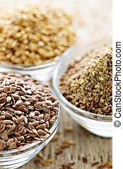 Marrom, dourado, linho, semente