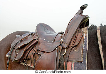 Horse Saddle - Detail of a horse saddle, horizontal shot.