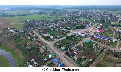 Aerial view of the Russian countryside in autumn. Temyasovo...