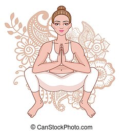 Women silhouette. Squat Yoga Pose. Malasana Vector...