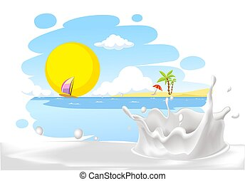 painted summer beach landscape with milk splash design -...