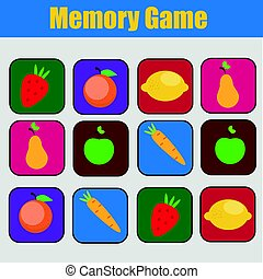 Educational children game, kids activity. Memory game,...